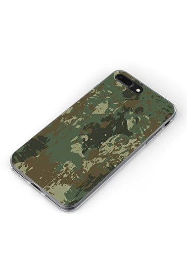 Lopard Apple İphone 8 Plus Kılıf Yeşil Kamuflaj Kapak Renkli